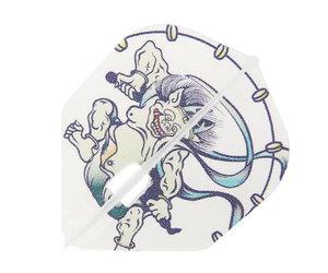 ダーツフライト【エルフライト×クロスデザイン】PRO 風神雷神 シェイプ クリアホワイト シャンパンリング対応