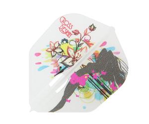 ダーツフライト【エルフライト×クロスデザイン】PRO オリビア シェイプ クリアホワイト シャンパンリング対応