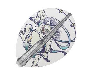 ダーツフライト【フィットフライトエアー×クロスデザイン】風神雷神 ティアドロップ クリアブラック