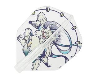 ダーツフライト【フィットフライトエアー×クロスデザイン】風神雷神 シェイプ クリア